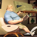 Mr. Incredible moves the furniture