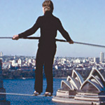 Petit walks above Sydney before his WTC stunt