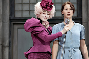 Effie (left) with Katniss, the chosen one