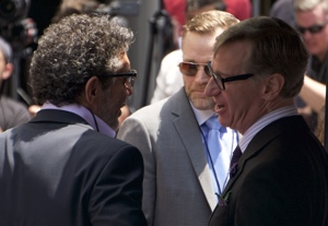 Paul Feig (right) chats with Chuck Lorre at Melissa McCarthy's Walk of Fame ceremony, May 19, 2015