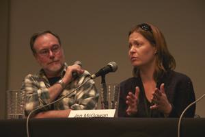 Brad Weismann listens to Jen McGowan