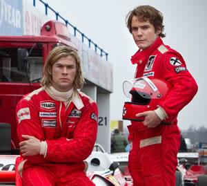 James Hunt (Chris Hemsworth) and Niki Lauda (Daniel Bruhl)